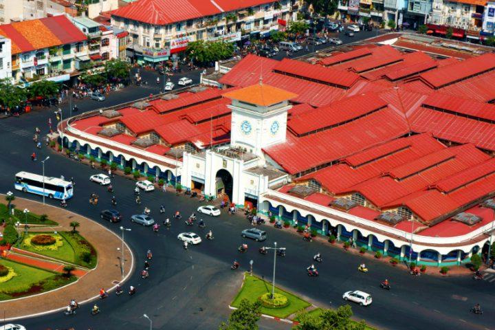 Overview Ben Thanh Market, Ho Chi Minh, Vietnam